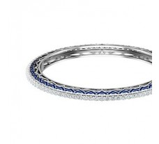Natural Diamond With Enamel Bangles 5.10 CT / 31.00 gm Gold