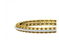 Natural Diamond With Gemstone Gold Bangles