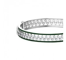 Natural Diamond With Enamel Bangles 3.46 CT / 33.00 gm Gold
