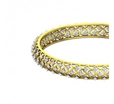 Natural Diamond Bangles 1.38 CT / 19.30  gm Gold