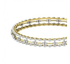 Natural Diamond Bangles 2.76 CT / 18.00  gm Gold