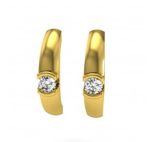 Natural Diamond Earrings 0.12 CT / 2.20 gm Gold