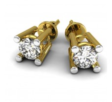 Natural Diamond Earrings 0.14 CT / 1.15 gm Gold