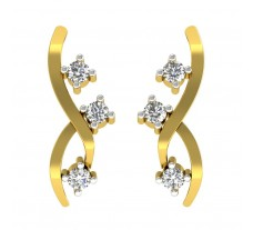 Natural Diamond Earrings 0.15 CT / 2.30 gm Gold