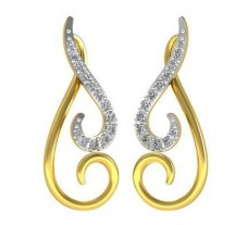 Natural Diamond Earrings 0.22 CT / 3.85 gm Gold