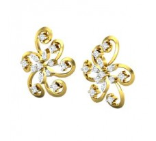 Natural Diamond Earrings 0.33 CT / 3.50 gm Gold