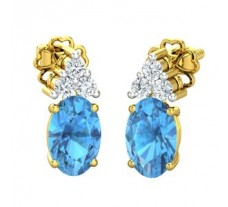 Natural Diamond & Gemstone Gold Earring