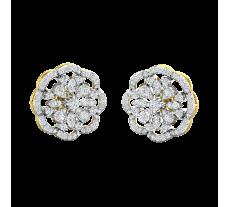 Natural Diamond Earrings 1.26 CT / 7.33 gm Gold