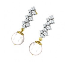 Natural Diamond Pearl Earrings 0.44 CT / 2.94 gm Gold