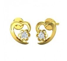 Natural Diamond Heart Earrings 0.10 CT / 2.00 gm Gold