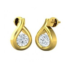 Natural Diamond Earrings 0.14 CT / 1.47 gm Gold