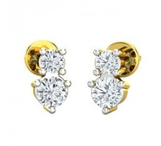 Natural Diamond Earrings 0.12 CT / 1.55 gm Gold
