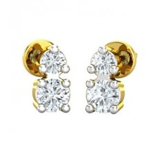 Natural Diamond Earrings 0.13 CT / 1.55 gm Gold