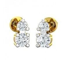 Natural Diamond Earrings 0.13 CT / 1.55 gm Gold