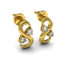 Natural Diamond Earrings 0.10 CT / 1.95 gm Gold