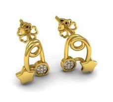 Natural Diamond Earrings 0.04 CT / 2.12 gm Gold