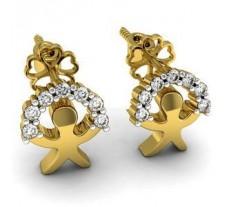 Natural Diamond Earrings 0.16 CT / 2.95 gm Gold