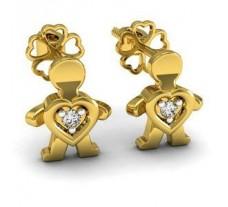 Diamond Earrings 0.03 CT / 2.15 gm Gold