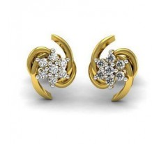Natural Diamond Earrings 0.15 CT / 2.52 gm Gold