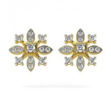 Natural Diamond Earrings 0.40 CT / 3.65 gm Gold
