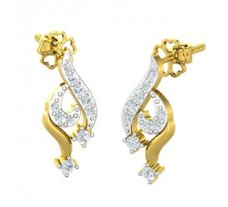 Natural Diamond Earrings 0.30 CT / 3.65 gm Gold