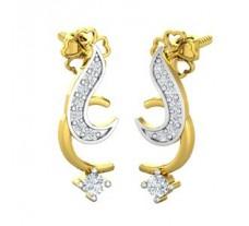 Natural Diamond Earrings 0.18 CT / 2.95 gm Gold