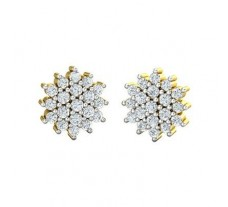 Natural Diamond Earrings 0.43 CT / 3.25 gm Gold