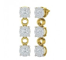 Natural Diamond Earrings 1.86 CT / 7.87 gm Gold