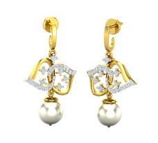 Natural Diamond Pearl Earrings 0.57 CT / 5.01 gm Gold