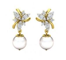 Natural Diamond Pearl Earrings 0.49 CT / 3.58 gm Gold