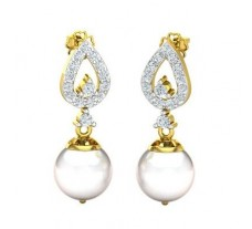 Natural Diamond Pearl Earrings 0.43 CT / 2.92 gm Gold