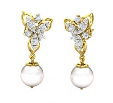 Natural Diamond Pearl Earrings 0.58 CT / 4.00 gm Gold