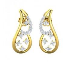 Natural Diamond Earrings 0.35 CT / 3.57 gm Gold