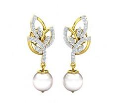 Natural Diamond Pearl Earrings 0.62 CT / 4.12 gm Gold
