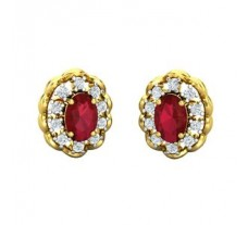 Natural Diamond & Gemstone Earring 1.68 CT / 4.00 gm Gold