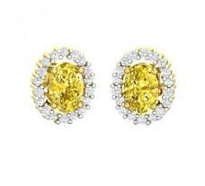 Natural Diamond & Gemstone Earring 1.74 CT / 3.27 gm Gold
