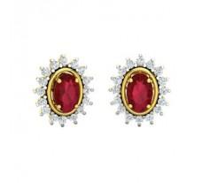 Natural Diamond & Gemstone Earring 1.86 CT / 4.00 gm Gold