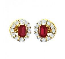 Natural Diamond & Gemstone Earring 1.44 CT / 3.18 gm Gold