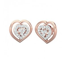 Natural Diamond Heart Earrings 0.34 CT / 3.00 gm Gold