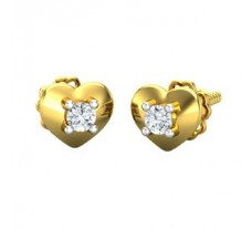 Natural Diamond Heart Earrings 0.10 CT / 1.75 gm Gold
