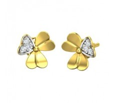 Natural Diamond Heart Earrings 0.06 CT / 2.60 gm Gold