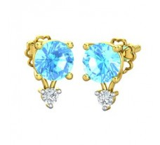 Natural Diamond & Gemstone Earring 0.32 CT / 2.20 gm Gold