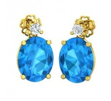 Natural Diamond & Gemstone Earring 6.48 CT / 2.60 gm Gold