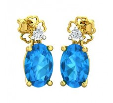 Natural Diamond & Gemstone Earring 1.26 CT / 1.63 gm Gold
