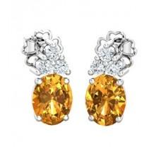 Natural Diamond & Gemstone Gold Earring