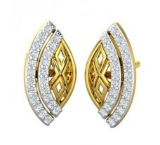 Natural Diamond Earrings 0.35 CT / 2.85 gm Gold
