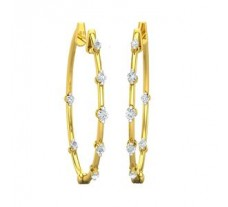 Natural Diamond Earrings 0.29 CT / 3.85 gm Gold