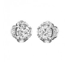 PreSet Natural Solitaire Diamond Earrings 0.84 CT / 2.10 gm Gold