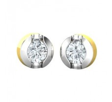 PreSet Natural Solitaire Diamond Earrings 0.80 CT / 4.00 gm Gold