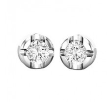 PreSet Natural Solitaire Diamond Earrings 0.80 CT / 3.30 gm Gold